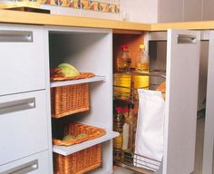 Pull-out kitchen drawers and shelves is a perfect organizing solution for any kitchen. Kitchen Baskets, Kitchen Pulls, Kitchen Drawers, Kitchen Storage, Kitchen Decor, Kitchen Ideas, Autocad, Interior Design Kitchen, Interior Decorating