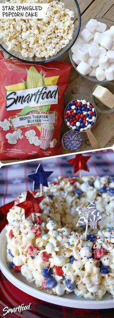 This Patriotic Marshmallow Popcorn Cake is a fun dessert to serve during summer holidays. Popcorn is combined with melted marshmallows and M&M's to create a delicious bundt cake. Popcorn Cake, Butter Popcorn, Blue Popcorn, Marshmallow Popcorn, Holiday Treats, Holiday Recipes, Just Desserts, Dessert Recipes, Popcorn Recipes