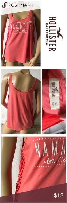 "Hollister Size Medium Namaste Fringed Tank Shirt Excellent condition; Armpit to armpit - 17.5"", Shoulder to bottom hem - 25""; Cotton, Polyester Hollister Tops Tank Tops"