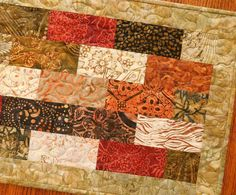 Quilted Batik Table Runner in Tonga Spice Collection by susiquilts