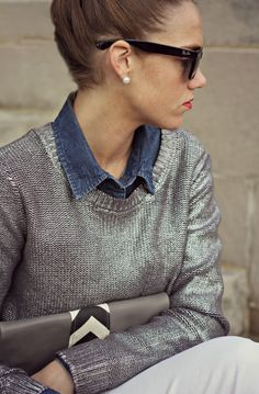 Styling a metallic sweater casually with a chambray shirt and white jeans; adding sparkly accents and chevron for a little personality! Cute Work Outfits, New Outfits, Summer Outfits, Winter Outfits, Classic Style, Cool Style, My Style, How To Become Pretty, Signature Look