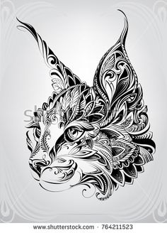 Lynx head in ornament