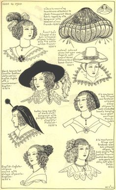 Women's hair fashions, early 1600's
