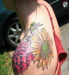 dual dahlia flower tattoos on back shoulder Do Dahlia Flower Tattoos have any Myths, and Meanings?