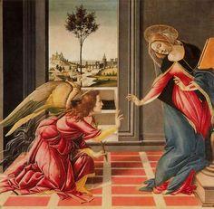 ¿Conoces al arcángel de la pureza?: La pintura <i>La Anunciación</i>, de Sandro Botticelli, fue hecha entre los años 1489-90 y se encuentra en la Galería Degli Uffici en Florencia. El Arcángel Gabriel anuncia a la Virgen María que será la madre del Hijo de Dios.