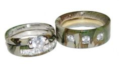 Camo Engagement ring & wedding band for both bride & groom