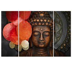 "Buddha Canvas Wall Art Wood Buddha Statue Canvas Prints Keep inner Peaceful Buddha Artwork for Living Room Yoga Room (32""x24""x1panel+12""x32""x2panel Large)"