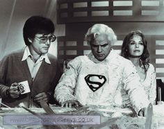Director Richard Donner on the Krypton set of  'Superman' with Marlon Brando and Susannah York