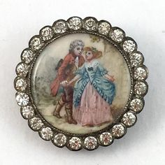 Late 18th-early 19th c painted ivory & paste button.