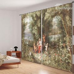 Classic Oil Painting 3D Printed Polyester Curtain - beddinginn.com