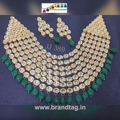 Royal elegant Kundan Necklace set...!!! - Royal elegant full kundan studded seven layered necklace set...!!!with green beads lining at the last layer