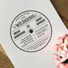 Letterpress music wedding invitation