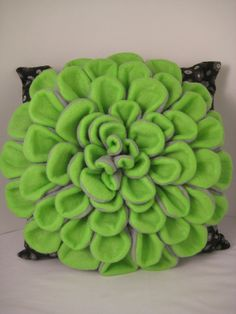 Green and Black Dahlia Pillow by Piperbrogan on Etsy, $57.00