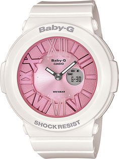 Unleash the girly girl inside you this this great pink and white Baby-G watch!