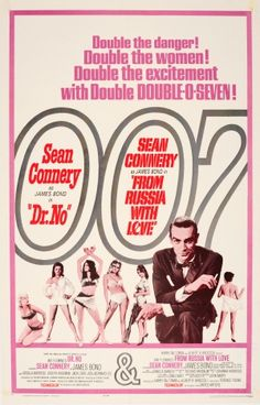 James Bond Dr No From Russia With Love Double Release, 1965 - original vintage 007 James Bond poster advertising the double release of Dr. No and From Russia with Love, both starring Sean Connery as James Bond and both directed by Terence Young, listed on AntikBar.co.uk
