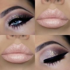 30 New ideas makeup ideas for brown eyes silver make up Eye Makeup Glitter, Gold Makeup, Skin Makeup, Eyeshadow Makeup, Eyeshadow Ideas, 80s Makeup, Witch Makeup, Eyeshadow Tutorials, Green Eyeshadow