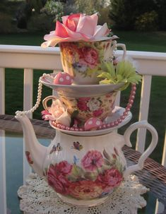 Stacked Floral Teapot/Teacup Centerpiece (Pastels #2)- Pearls, Mushrooms, Flowers, Rose - Alice in Wonderland, Shower, Mad Hatter Tea Party