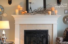 Winter Mantel Decor- white berries, branches, birch logs, pillar candles