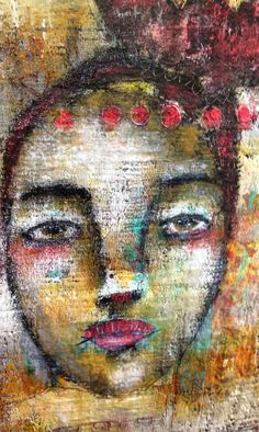 portrait at home 3 mixed media painting by mystele by mystelepaint