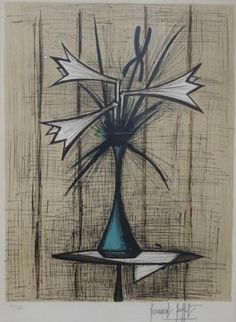 Bernard BUFFET (1928 – 1999) Bouquet de fleurs au vase bleu Lithographie