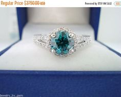 ON SALE Fancy Blue Diamond Engagement Ring 1.33 Carat SI1 14K White Gold Bridal Ring handmade Halo