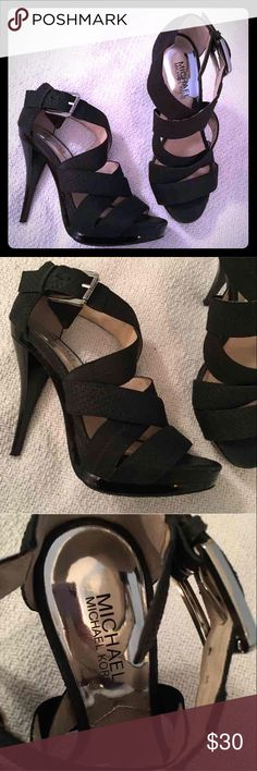 Michael Kors Black Sexy Strappy Pumps Michael Kors Black Sexy Strappy Pumps. Size 7. When you show up in these heels you're definitely making a statement. Be that girl. Minor flaws Michael Kors Shoes Heels
