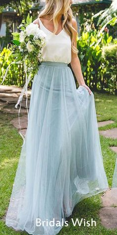 Two Pieces White & Blue Tulle Long Bridesmaid Dresses, BW0159#bridesmaids #bridesmaiddress #bridesmaiddresses #dressesformaidofhonor #weddingparty #2020bridesmaiddresses Tulle Bridesmaid Dress, Tulle Dress, Prom Dresses, Bridesmaid Outfit, Bridesmaids, Bride Maid Dresses, White Bridesmaid Dresses Long, Blue Tulle Skirt, Burgundy Bridesmaid