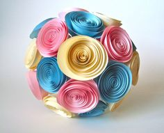 Paper Flower Bouquet in cream, baby pink, and sky blue, $30