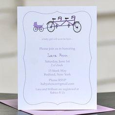 Baby Shower Invitations, Baby Shower Invites  - Baby Tandem Bike. $18.00, via Etsy.