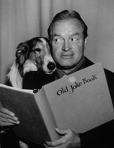 """A little doggie whispered in my ear..."" Bob Hope circa 1958 seems to be taking a book recommendation!"