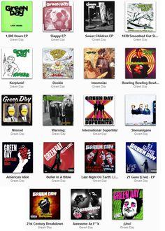 una lista de algunos albums de green day, los mas conocidos. mis favoritos son american idiot dookie y trilogia.... y ustedes???