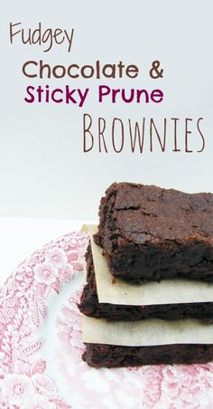 The most gloriously fudgey chocolate brownies with little chewy bites of sticky sweet prune. #vegan #dairyfree