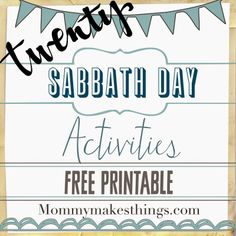 Mommy Makes Things : Sabbath Day Activities-FREE Printable! Sabbath Activities, Primary Activities, Sunday School Activities, Church Activities, Bible Activities, Fhe Lessons, Object Lessons, Lessons For Kids, Sabbath Day Holy