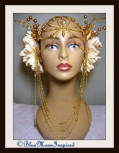Headpiece, Headdress, Burning Man Headpiece, Fairy headress, Bellydance headpiece, Fantasy Headpiece, Wedding Headpiece, Tribal Headpiece