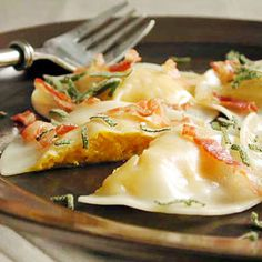 Butternut Squash Ravioli with Pancetta and Sage Recipe.. gotta be my new favorite meal!!