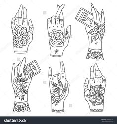 Ornate hands with old school tattoo. Old school tattoo hands. Vector illustration.
