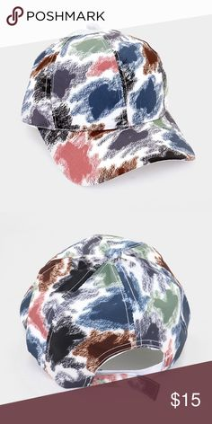 Color Smudge Baseball Cap [grandavenue: 329616] • Color : Multi • Size : One size fits most • Material : Polyester • Crayon smudge painting baseball cap Accessories Hats