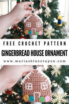 Free pattern for a crochet gingerbread house ornament. Add a handmade touch to your decorating for Christmas! Crochet Christmas Ornaments, Christmas Crochet Patterns, Holiday Crochet, House Ornaments, Felt Christmas, Christmas Projects, Diy Ornaments, Beaded Ornaments, Homemade Christmas