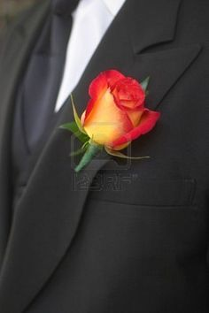 Groomsmen; orange rose, add purple stock