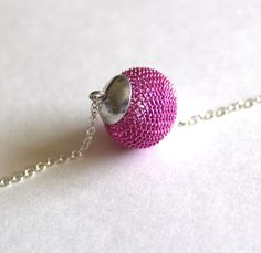 Metal mesh necklace bead in pink by Bunnys on Etsy, $16.00