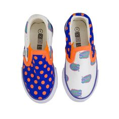 University of Florida Canvas Slip-On Sneakers for Toddlers $20.00. These Florida Gators shoes from SCHOOLZ by XOLO feature mismatched but coordinating fabrics in Florida Gator blue and orange. Who says shoes have to match? Rubber Sole, Canvas Upper, Unisex-For Boys and Girls, Officially Licensed Collegiate Product.