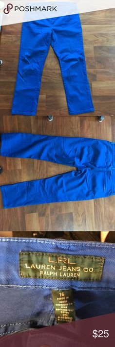 Ralph Lauren blue pants sz16 These vibrant blue Ralph Lauren pants are in excellent condition ! They are a size 16 modern straight cropped fit. Ralph Lauren Pants