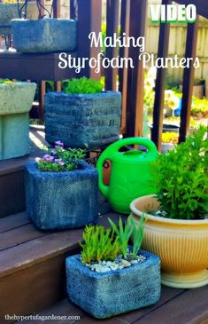 Video included - Making a Styrofoam Planter. Don't throw away a Styrofoam box. Ready to plant in a day! See directions on post. Video instructions too!