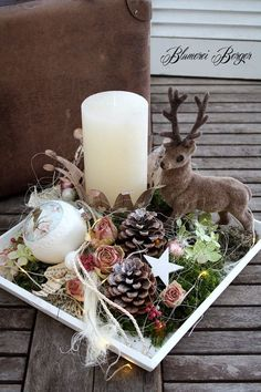 ":::: Adventstablett "" Hirschlein "" beleuchtet :::: - New Ideas Noel Christmas, Christmas Candles, Christmas Centerpieces, Xmas Decorations, Christmas Themes, Christmas Wreaths, Christmas Crafts, Christmas Ornaments, Holiday Decor"