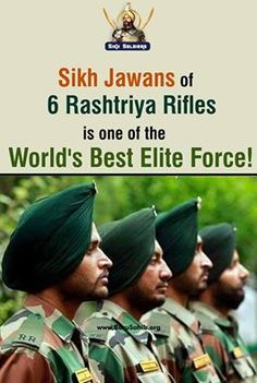 ‪#‎BlessedtobeSikh‬ Sikh Jawans of 6 Rashtriya Rifles is one of the World's Best Elite Force! With 63 Batallions Present in Kashmir Rashtriya Rifles(RR) is Amongst The Worlds Best Elite Force...Rashtriya Rifles Has Neutralised A Total Of 16451 Militants & 1109 Surrenders Share & Spread to salute these bravehearts!