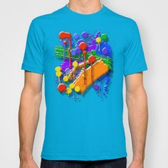 The Big O (Drip Porn Pattern)  by Wayne Edson Bryan    T-SHIRT / MENS FITTED TEE TEAL  $22.00
