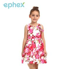 Ephex Girls Summer Dresses Floral Printed Princess Wedding Dress Sleeveless A-line Appliques Baby Children Clothes For Girl