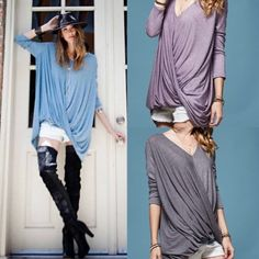 The AIYANA 3/4 quarter draped top - 2 colors HP 8/5DEEP V NECK SUGAR HATCHI SURPLICE DETAIL BACK HEATHERD COLOR TUNIC , 97% RAYON 3% SPANDEX, MADE IN USA, NO TRADE, PRICE FIRM ONLY PLUM & TEAL AVAILABLE. ITEM RUNS BIG. Bellanblue Tops Tees - Long Sleeve