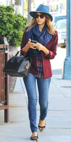 Jessica Alba wearing Blue Wool Hat, Navy Scarf, Burgundy Blazer, White and Red and Navy Plaid Dress Shirt, White Crew-neck T-shirt, Black Leather Tote Bag, Blue Skinny Jeans, and Tan Leopard Suede Ballerina Shoes