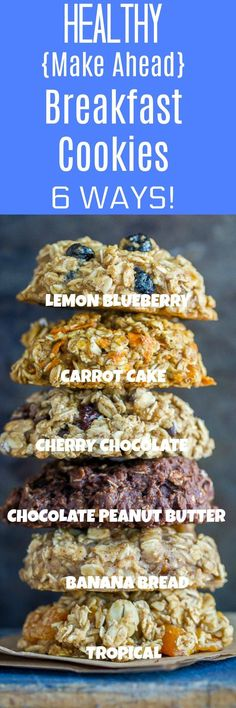 Healthy Make Ahead Breakfast Cookies are so easy to make! You only need one bowl and they're all gluten free, vegan and refined sugar free. They're freezer friendly and make a great portable breakfast! And, there's 6 delicious flavors to choose from! Healthy Desayunos, Healthy Snacks, Healthy Eating, Clean Eating, Snacks For Diabetics, Healthy Camping Meals, Camping Desserts, Camping Snacks, Healthy Bars